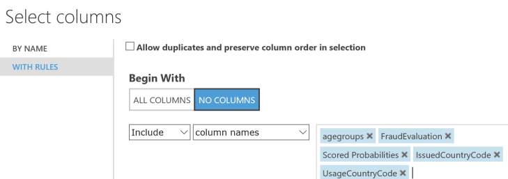 Select Output columns for WS