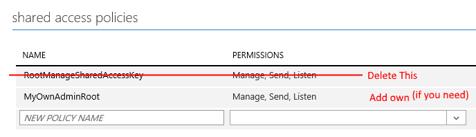 Remove the default root shared access