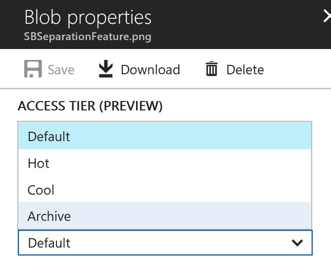 Azure Archive Tier Blob Storage preview